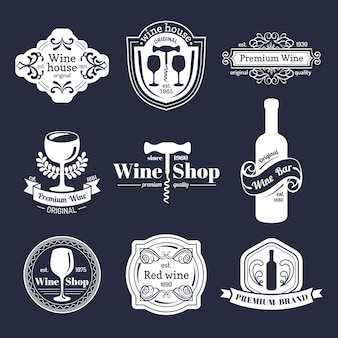 Wektor zestaw vintage logo wina. kolekcja ikony retro wina.