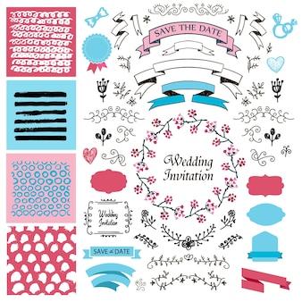 Wektor zestaw vintage ręcznie rysowane elementy projektu ślubne, wstążki, zaproszenia, elementy dekoracyjne. kolekcja ślubna