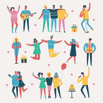 Wektor zestaw w stylu płaski grupy szczęśliwych przyjaciół świętujących urodziny na imprezie