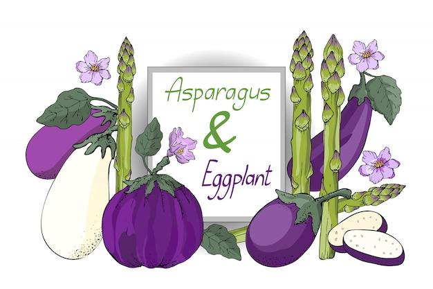 Wektor zestaw warzyw. białe, fioletowe i fioletowe bakłażany z liśćmi i kwiatami, świeże zielone szparagi (trawa krowa).