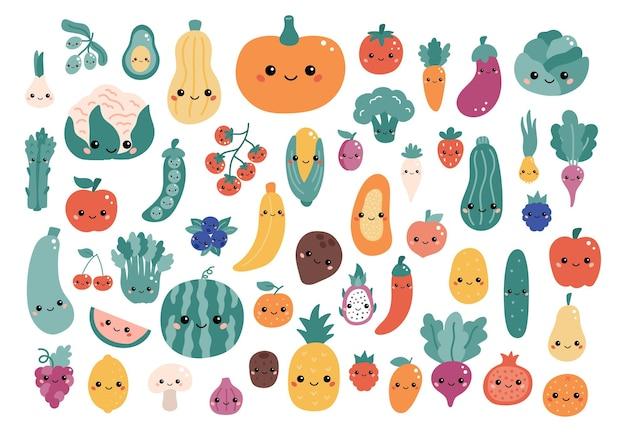 Wektor zestaw warzyw i owoców z kreskówek kawaii o śmiesznych twarzach