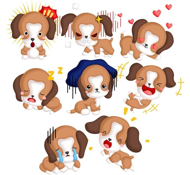 Wektor zestaw wielu psów rasy beagle w różnych emocjach