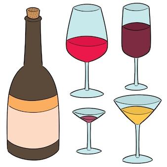 Wektor zestaw wina
