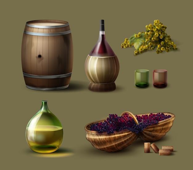 Wektor zestaw winiarstwa z drewnianą beczką, zabytkowe butelki, szklanki, wiklinowy kosz i winogrona na białym tle