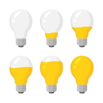 Wektor zestaw wskaźników światła żarówki, poziom naładowania energii