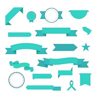 Wektor zestaw wstążek. nowoczesne płaskie ikony w stylowych kolorach. ikony do aplikacji internetowych i mobilnych. odosobniony.