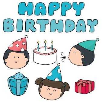 Wektor zestaw wszystkiego najlepszego z okazji urodzin