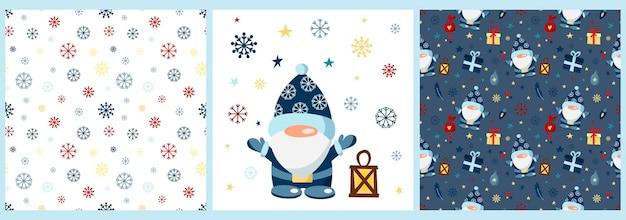 Wektor zestaw wzorów i plakat ze świątecznym gnomem na białym tle wzory ze śniegiem