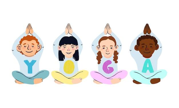 Wektor zestaw z kolorowymi ilustracjami dzieci robiących jogę na białym tle