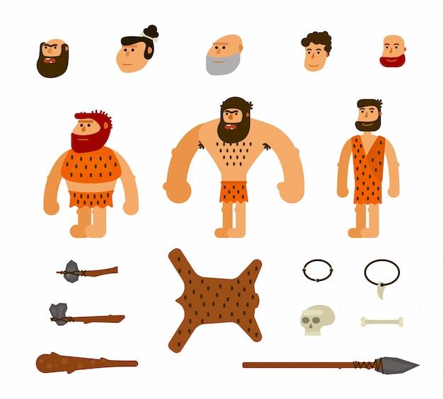 Wektor zestaw z prehistorycznymi ludźmi