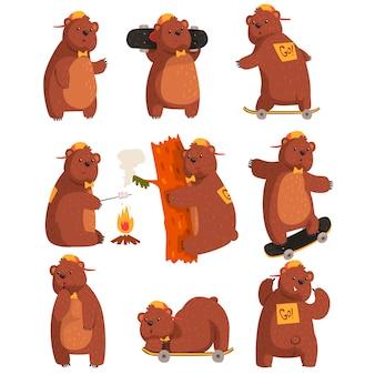Wektor zestaw zabawny niedźwiedź nastolatków w różnych sytuacjach