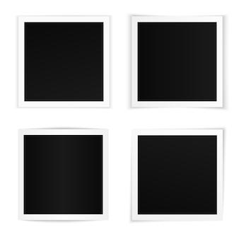 Wektor zestaw zakrzywionych kwadratowych ramek do zdjęć z różnymi miękkimi cieniami. szablony ramki na zdjęcia na białym tle na białym tle.