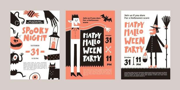 Wektor zestaw zaproszeń na imprezę halloween lub kartki z życzeniami