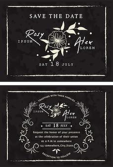 Wektor zestaw zaproszeń z elementami kolekcja ślubna.