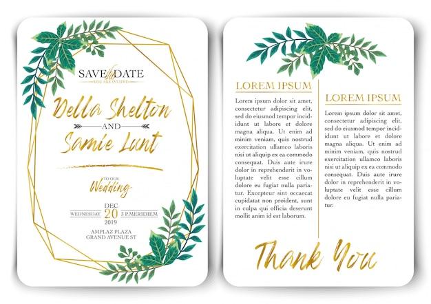 Wektor zestaw zaproszenia ślubne tło szablonu karty