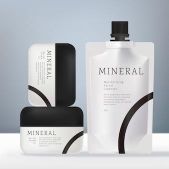 Wektor zestaw zdrowia i ciała z czarno-białą okrągłą plastikową butelką szamponu lub pakietem masek na twarz