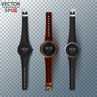 Wektor zestaw zegarków męskich i damskich. kolekcja zegarków na białym tle