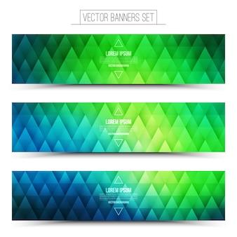 Wektor zestaw zielony niebieski banery