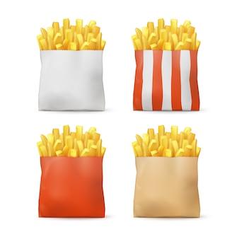Wektor zestaw ziemniaków frytki w czerwone białe paski craft papieru torby pakiet na białym tle na tle. fast food