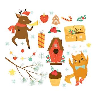 Wektor zestaw zimowy. boże narodzenie i nowy rok. jeleń list do świętego mikołaja. prezenty ozdoby choinkowe