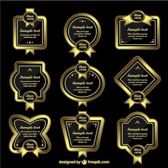 Wektor zestaw złotymi ramkami etykiety