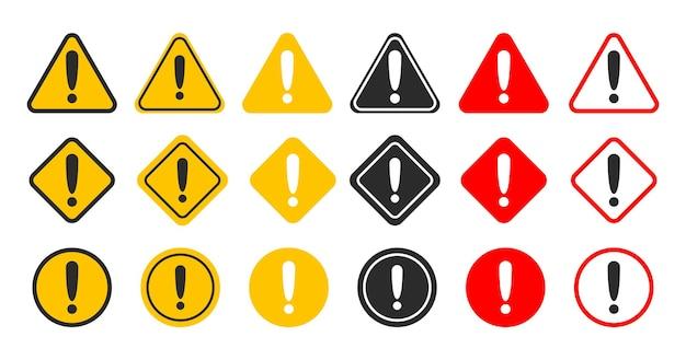 Wektor zestaw znak ostrzegawczy niebezpieczeństwo.