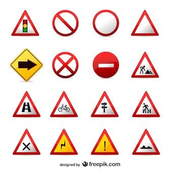 Wektor zestaw znaków drogowych