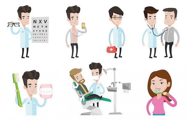 Wektor zestaw znaków lekarza i pacjentów.