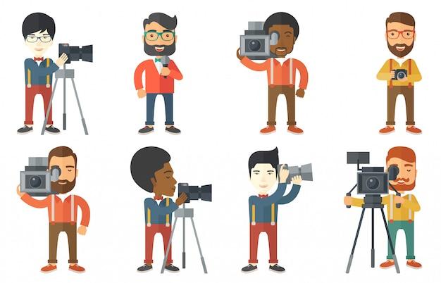 Wektor zestaw znaków ludzi mediów.