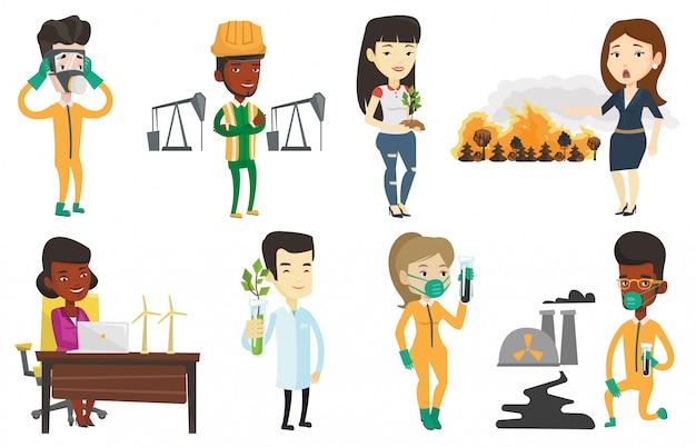 Wektor zestaw znaków na tematy ekologii.