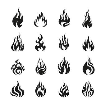 Wektor zestaw znaków ognia