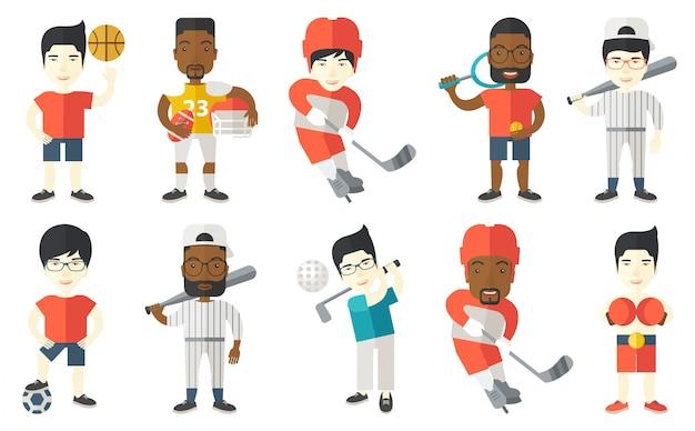 Wektor zestaw znaków sportowych.