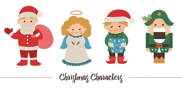 Wektor zestaw znaków świątecznych. ładny zimowy święty mikołaj z worek, anioł, elf, dziadek do orzechów ilustracja na białym tle. zabawny obraz płaski na nowy rok lub projekt zimowy