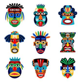 Wektor zestaw zulu lub maska azteków. meksykańskie indyjskie inka wojownika maski odizolowywać