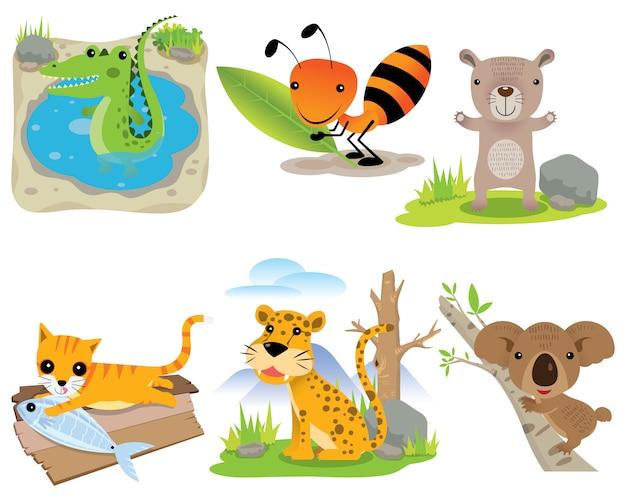Wektor zestaw zwierząt, krokodyl, mrówka, niedźwiedź, kot, lampart, koala,