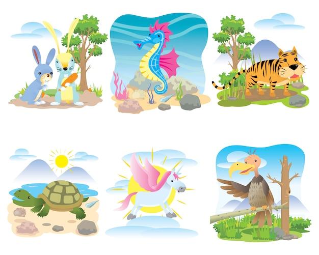 Wektor zestaw zwierząt, królik, konik morski, tygrys, żółw, koń, jednorożec,