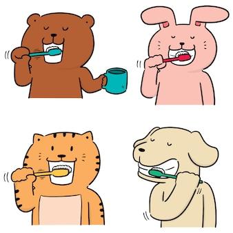 Wektor zestaw zwierząt szczotkowanie zębów
