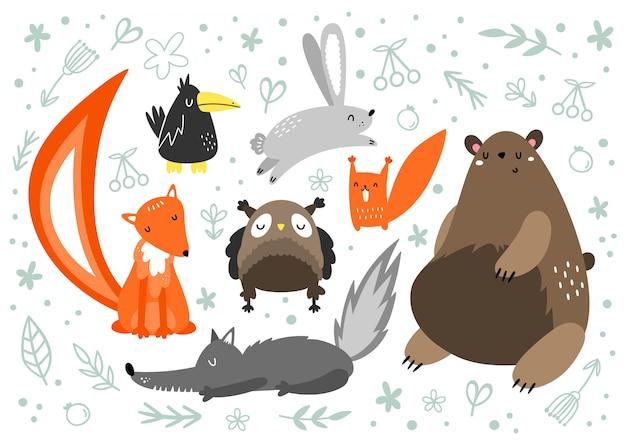 Wektor zestaw zwierząt w stylu skandynawskim. zwierzęta leśne. niedźwiedź brunatny, zając, lis, wilk, wiewiórka wrona sowa