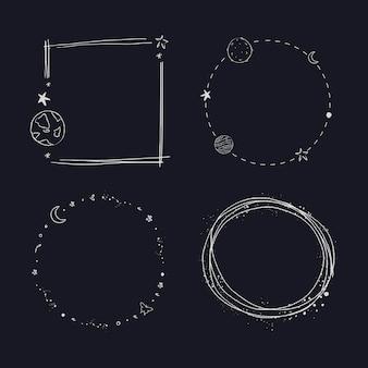 Wektor zestawu ramek galaktyki z minimalną linią sztuki