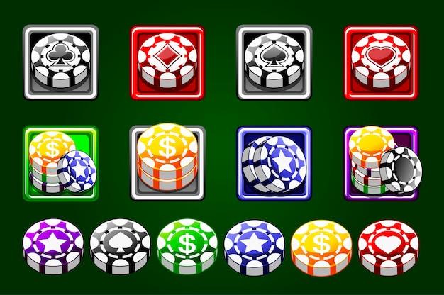 Wektor żetony do kasyna na białym tle na zielonym tle. kolorowe wióry. żetony 3d do gier kasynowych. baner kasyna online. ustaw koncepcję hazardu, ikonę aplikacji mobilnej pokera.