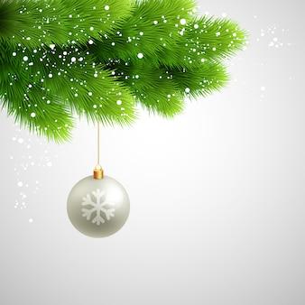 Wektor zielona sosna rozgałęzia się z białą piłką.