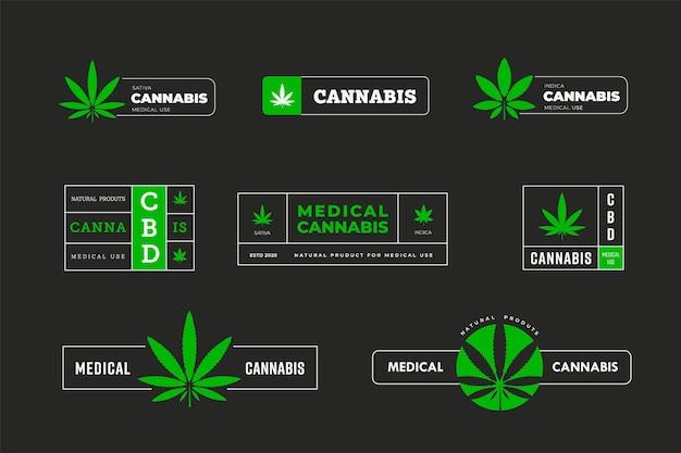 Wektor zielone naklejki z indica i sativa. projekt graficzny logo z liściem marihuany. szablon ikony i emblematu z konopiami indyjskimi sbd i tgc w płytach