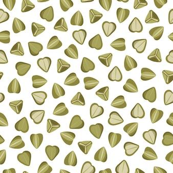 Wektor zielony kasza gryczana kreskówka wzór dla szablonu projektu rynku rolnika, etykiety i pakowania. ekologiczna super żywność z naturalnego białka energetycznego.