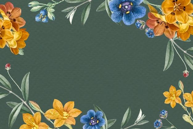 Wektor zielony kwiatowy wzór ramki