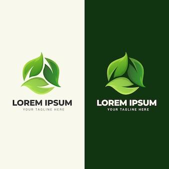 Wektor zielony liść logo projektu