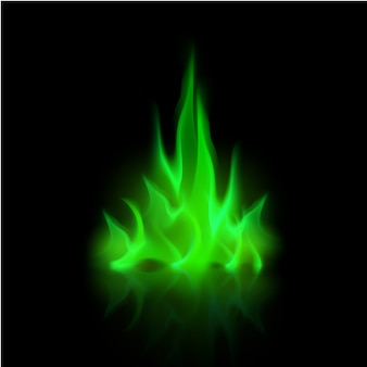 Wektor zielony magiczny ogień płomień ognisko