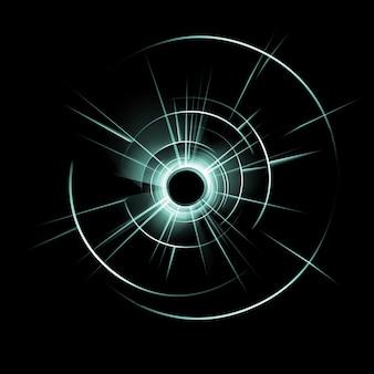 Wektor zielony rozbite szkło z dziurą po kuli na ciemny czarny