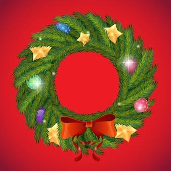 Wektor zielony wieniec świąteczny z