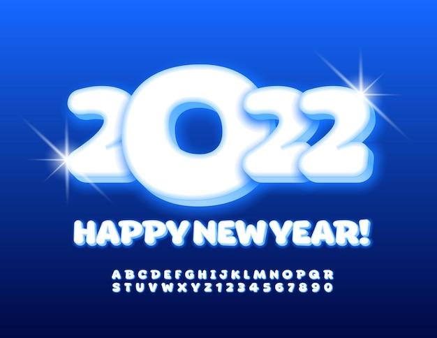 Wektor zima kartkę z życzeniami szczęśliwego nowego roku 2022 świecące zabawny zestaw czcionek podświetlany alfabet