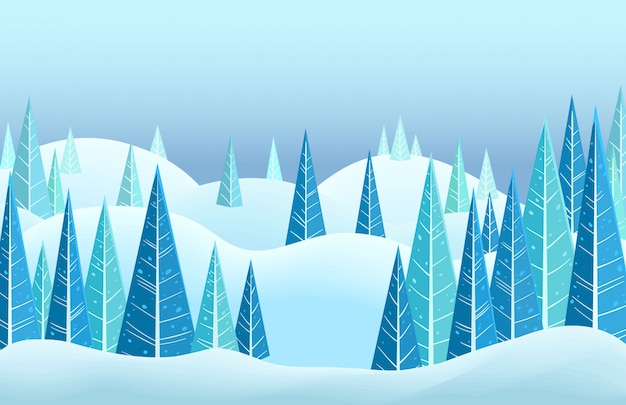 Wektor zimowy krajobraz poziomy.